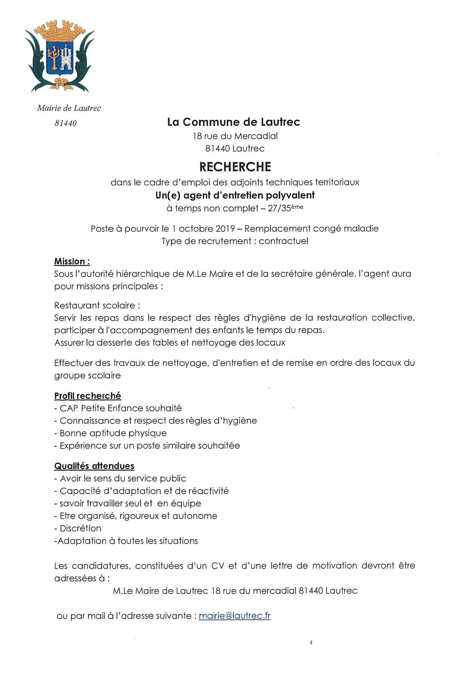 Lautrec La Mairie De Lautrec Recherche Un E Agent D